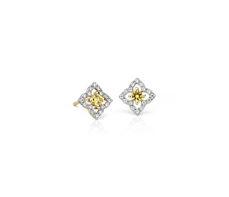 Blue Nile Petite Sapphire Pave Bar Stud Earrings in 14k White Gold (1.5mm) pgxtqB