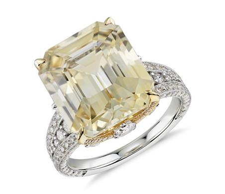 Emerald Cut Yellow Sapphire And Diamond Ring In 18k White