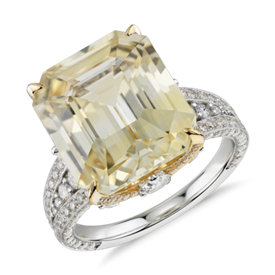 Emerald-Cut Yellow Sapphire and Diamond Ring in 18k White and Yellow Gold (11.54 ct. tw. center)