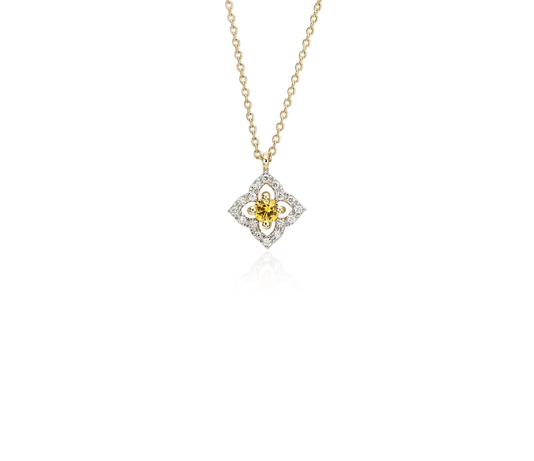 Petite Yellow Sapphire Floral Pendant in 14k Yellow Gold