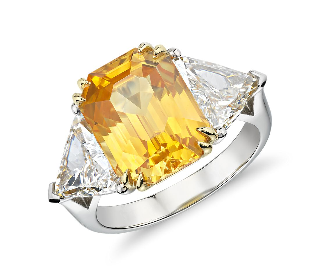 Yellow Sapphire and Diamond Three-Stone Ring in Platinum
