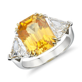 NEW Yellow Sapphire and Diamond Three-Stone Ring in Platinum (8 ct. center)