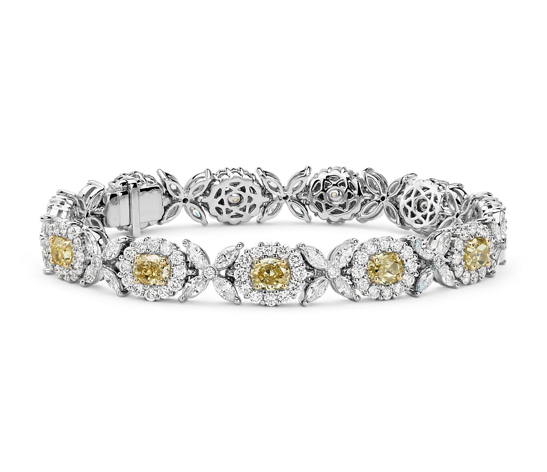 Fancy Yellow And White Diamond Bracelet In 18k Gold