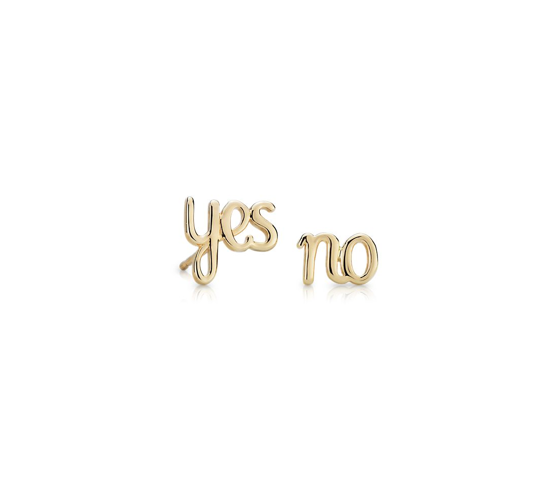 Yes/No Mismatched Stud Earrings in 14k Yellow Gold