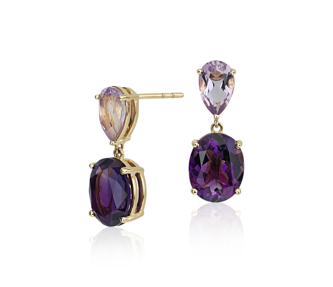 ZAC Zac Posen Amethyst and Rose de France Earrings in 14k Yellow Gold (10x8mm)