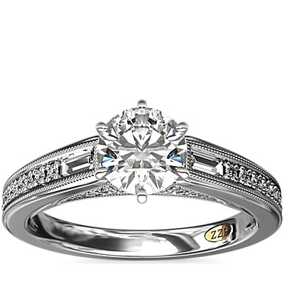 NEW ZAC Zac Posen Art Deco Baguette and Round Diamond Engagement Ring with Milgrain Detail in 14k White Gold (1/4 ct. tw.)