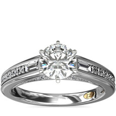 NEW ZAC Zac Posen Art Deco Baguette and Round Diamond Engagement Ring with Milgrain Detail in 14k White Gold (0.27 ct. tw.)