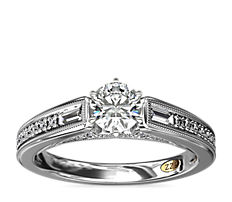 ZAC Zac Posen Art Deco Baguette and Round Diamond Engagement Ring with Milgrain Detail in 14k White Gold (0.27 ct. tw.)