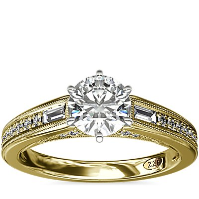 ZAC Zac Posen Art Deco Baguette and Round Diamond Engagement Ring with Milgrain Detail in 14k Yellow Gold (1/4 ct. tw.)
