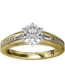 NEW ZAC Zac Posen Art Deco Baguette and Round Diamond Engagement Ring with Milgrain Detail in 14k Yellow Gold (0.27 ct. tw.)