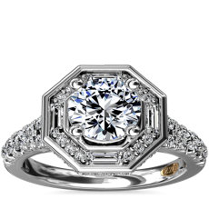 NEW ZAC Zac Posen Art Deco Hexagon Halo Diamond Engagement Ring in 14k White Gold