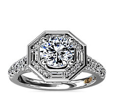 ZAC Zac Posen Art Deco Hexagon Halo Diamond Engagement Ring in 14k White Gold