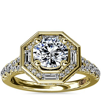 ZAC Zac Posen Art Deco Hexagon Halo Diamond Engagement Ring in 14k Yellow Gold (3/4 ct. tw.)
