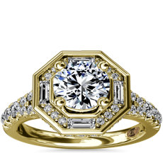 NEW ZAC Zac Posen Art Deco Hexagon Halo Diamond Engagement Ring in 14k Yellow Gold