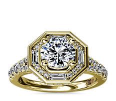 Anillo de compromiso hexagonal con halo de diamantes de estilo art decó ZAC de Zac Posen en oro amarillo de 14k