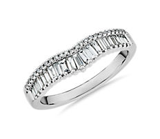 NEW ZAC Zac Posen Baguette & Pavé Diamond Crown Curved Wedding Ring in 14k White Gold (3/8 ct. tw.)