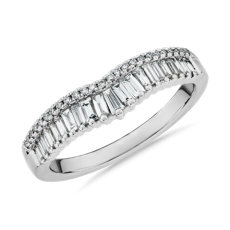 ZAC Zac Posen Baguette & Pavé Diamond Crown Curved Wedding Ring in 14k White Gold (3/8 ct. tw.)