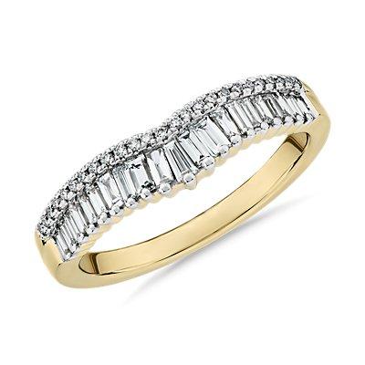 14k 黃金ZAC Zac Posen 長方形和密釘鑽石皇冠曲線結婚戒指(3/8 克拉總重量)