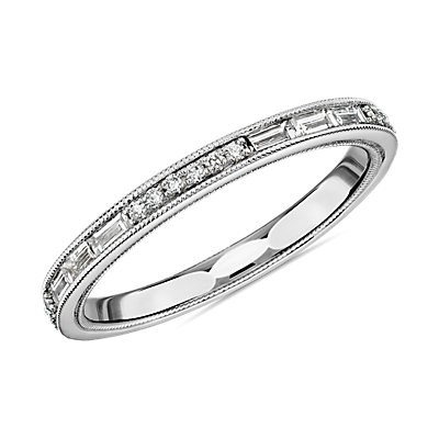 ZAC Zac Posen Baguette & Round Diamond Milgrain Edge Eternity Wedding Ring in 14k White Gold (1/2 ct. tw.)