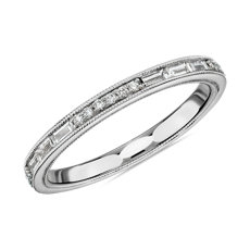 NEW ZAC Zac Posen Baguette & Round Diamond Milgrain Edge Eternity Wedding Ring in 14k White Gold (0.54 ct. tw.)