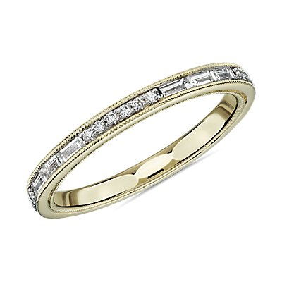 ZAC Zac Posen Baguette & Round Diamond Milgrain Edge Eternity Wedding Ring in 14k Yellow Gold (1/2 ct. tw.)