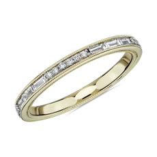 NEW ZAC Zac Posen Baguette & Round Diamond Milgrain Edge Eternity Wedding Ring in 14k Yellow Gold (0.54 ct. tw.)