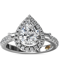 ZAC Zac Posen Pear Vintage Baguette Halo Diamond Engagement Ring in 14k White Gold (1/2 ct. tw.)