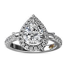 ZAC Zac Posen Pear Vintage Baguette Halo Diamond Engagement Ring in 14k White Gold (1/2 ct. tw.)