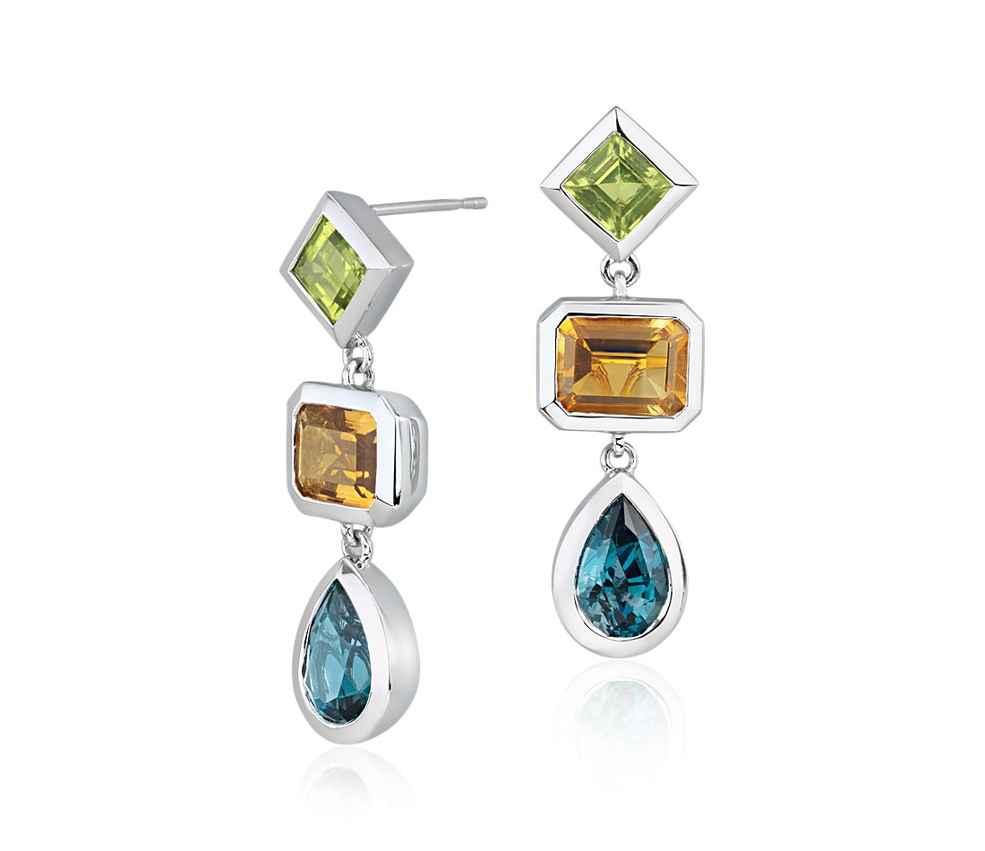 Zac Posen London Blue Topaz Peridot And Citrine Dangle Earrings In 14k White Gold 9x6mm