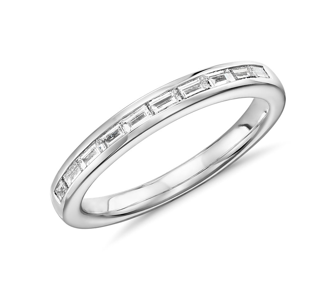 Truly Zac Posen Channel Set Baguette Diamond Ring In Platinum 1 4 Ct