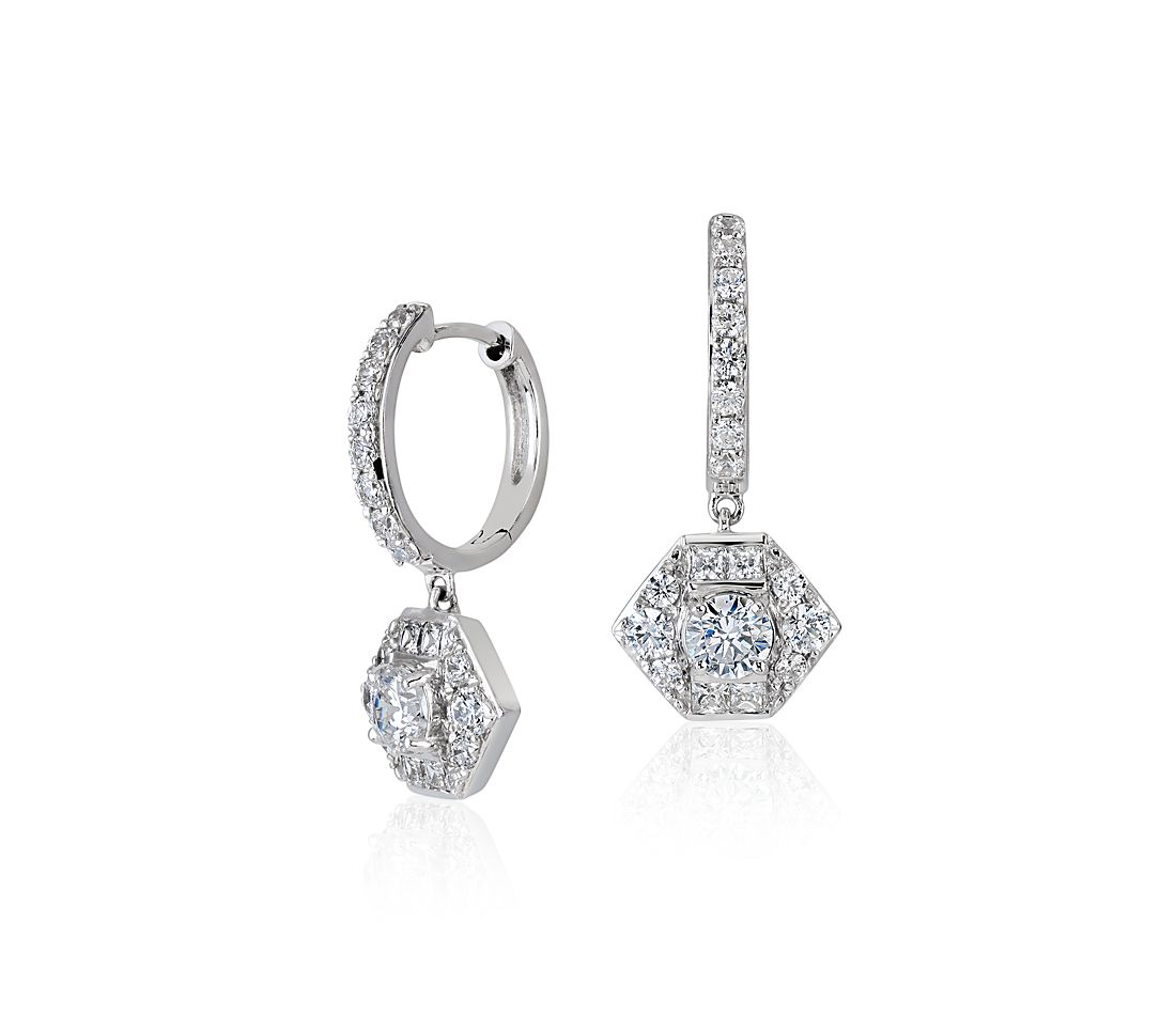 ZAC Zac Posen Diamond Drop Earring in 18k White Gold (1 ct. tw.)