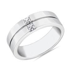 NUEVO. Alianza doble con diamantes de talla Asscher ZAC Zac Posen, en platino (3/8 qt. total)