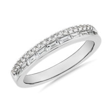 NEW ZAC Zac Posen Double Row Baguette & Pavé Diamond Wedding Ring in 14k White Gold (3/8 ct. tw.)
