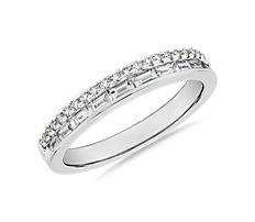 ZAC Zac Posen Double Row Baguette & Pavé Diamond Wedding Ring in 14k White Gold
