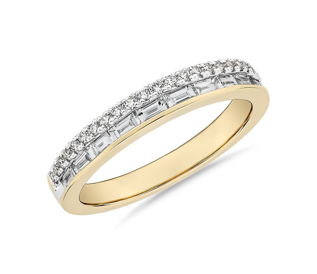 ZAC Zac Posen Double Row Baguette & Pavé Diamond Wedding Ring in 14k Yellow Gold (3/8 ct. tw.)
