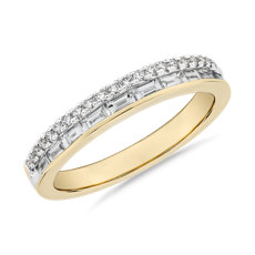 NEW ZAC Zac Posen Double Row Baguette & Pavé Diamond Wedding Ring in 14k Yellow Gold (3/8 ct. tw.)