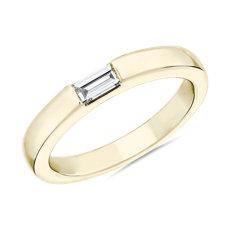 NOUVEAU Bague avec diamant taille baguette serti est-ouest ZAC Zac Posen en or jaune 14carats (1/6carat, poids total)