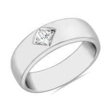 鉑金ZAC Zac Posen 羅盤式鑲嵌法公主方形單鑽戒指(1/4 克拉總重量)