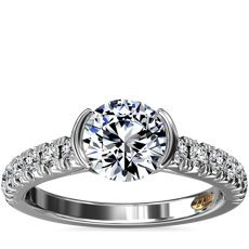 ZAC Zac Posen Semi-Bezel Pave Diamond Engagement Ring in 14k White Gold (1/3 ct. tw.)