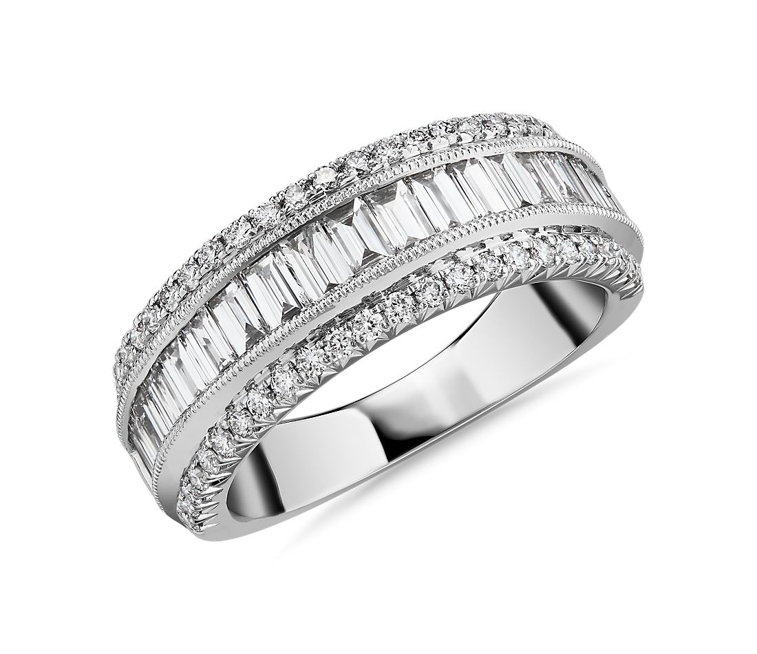 ZAC Zac Posen Luxe Triple Row Baguette & Pavé Diamond Wedding Ring in 14k White Gold (1 1/2 ct. tw.)