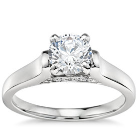 3/4 Carat Preset Truly Zac Posen Cathedral Solitaire Plus Diamond Engagement Ring in Platinum