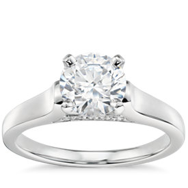 1 Carat Preset Truly Zac Posen Cathedral Solitaire Plus Diamond Engagement Ring in Platinum