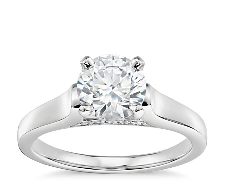 1 Carat Ready-to-Ship Truly Zac Posen Cathedral Solitaire Plus Diamond Engagement Ring in Platinum