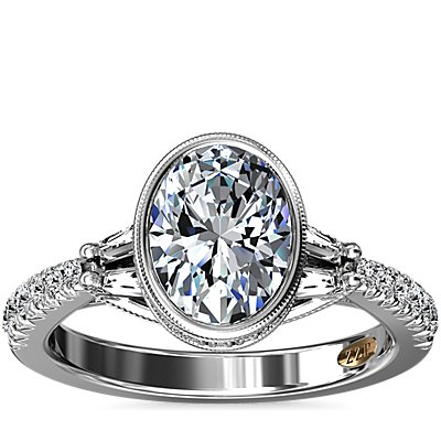 ZAC Zac Posen Oval Bezel Diamond Engagement Ring with Baguette Sidestones in 14k White Gold (1/2 ct. tw.)