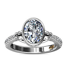 新款 14k 白金ZAC Zac Posen 橢圓形包邊鑲鑽石訂婚戒指搭長方形輔石 (1/2 克拉總重量)