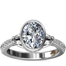 Bague de fiançailles diamant ovale serti droit avec pierres latérales taille baguette ZAC Zac Posen en or blanc 14carats (1/2carat, poids total)