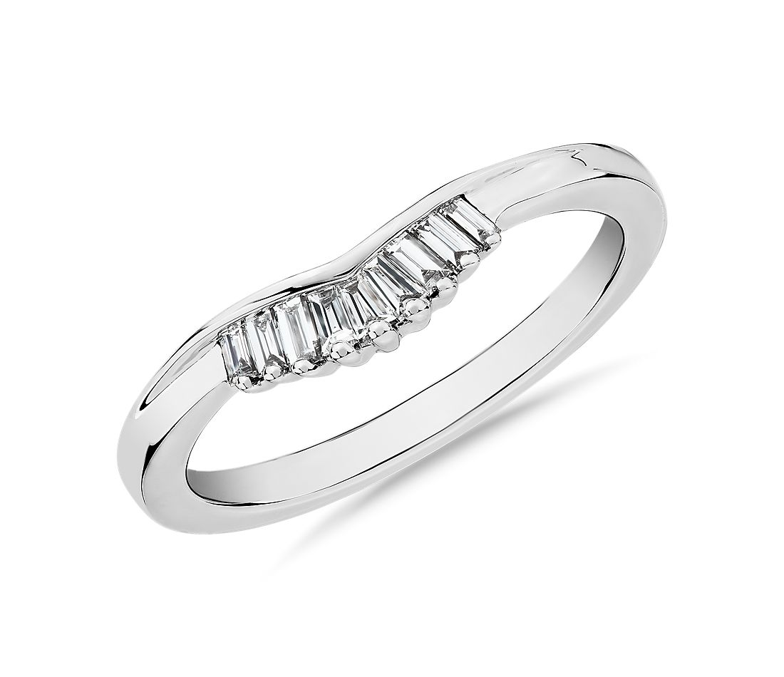 ZAC Zac Posen Petite Baguette Diamond Tiara Curved Wedding Ring in 14k White Gold (0.13 ct. tw.)