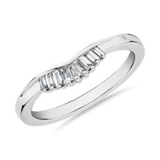 NEW ZAC Zac Posen Petite Baguette Diamond Tiara Curved Wedding Ring in 14k White Gold (0.13 ct. tw.)