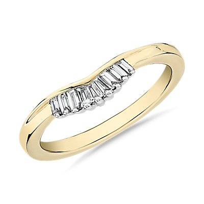 NEW ZAC Zac Posen Petite Baguette Diamond Tiara Curved Wedding Ring in 14k Yellow Gold (1/8 ct. tw.)