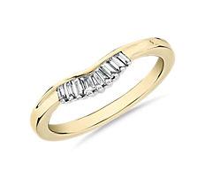 14k 金 ZAC Zac Posen 小巧长方形钻石和密钉钻石冠状弧形结婚戒指(1/8 克拉总重量)